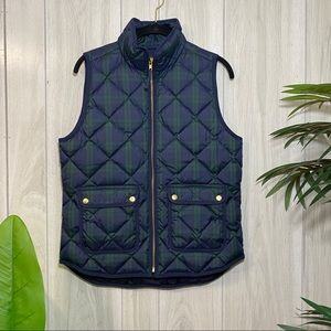 J Crew Plaid Excursion Quilted Puffer Vest size S Small